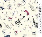 music symbols.vector seamless... | Shutterstock .eps vector #390520513