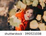 tale. fantastic redhead girl in ...   Shutterstock . vector #390521038