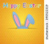 happy easter card with rabbit... | Shutterstock . vector #390522319