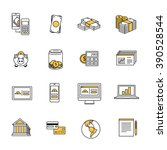 dollar finance line icons... | Shutterstock .eps vector #390528544