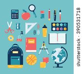 flat design of school supplies. ...