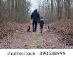 Stock photo father and son walking with dog 390538999