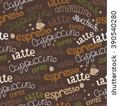 hand  drawn coffee seamless.... | Shutterstock .eps vector #390540280