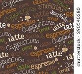 hand  drawn coffee seamless.... | Shutterstock .eps vector #390540280