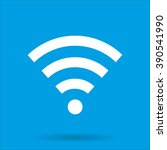 wifi icon with shadow on a blue ...   Shutterstock .eps vector #390541990