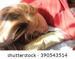 girl lying with flowing hair... | Shutterstock . vector #390543514