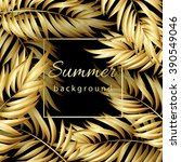 Gold Palm Leaves Pattern Black...