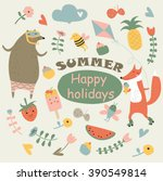 vector summer set in cartoon... | Shutterstock .eps vector #390549814
