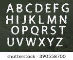 chalked alphabet font in... | Shutterstock .eps vector #390558700