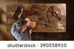 top view. craftsman luthier... | Shutterstock . vector #390558910
