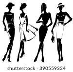 black and white retro fashion... | Shutterstock .eps vector #390559324