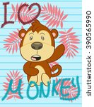illustration vector cute monkey | Shutterstock .eps vector #390565990