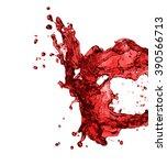 red juice splash closeup... | Shutterstock . vector #390566713