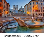 spanish steps at dusk in rome ... | Shutterstock . vector #390573754