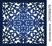 square laser cut panel template.... | Shutterstock .eps vector #390580678