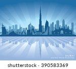 dubai uae city skyline vector... | Shutterstock .eps vector #390583369