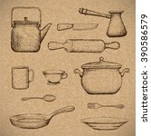 Kitchenware. Doodle Image In...