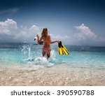 woman running into the tropical ... | Shutterstock . vector #390590788