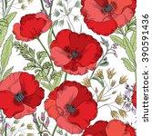 floral seamless pattern. flower ... | Shutterstock .eps vector #390591436