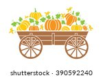 old wagon with a pumpkin with a ... | Shutterstock .eps vector #390592240