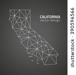california grey polygonal map | Shutterstock .eps vector #390596566