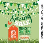 spring sale marketing template... | Shutterstock . vector #390597658