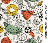 fruit seamless pattern.... | Shutterstock .eps vector #390599554