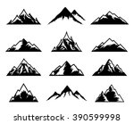vector mountains icons isolated ... | Shutterstock .eps vector #390599998