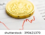 one pound coin on fluctuating...   Shutterstock . vector #390621370