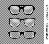 set of custom glasses isolated. ... | Shutterstock .eps vector #390624676