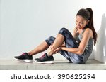 running injury leg accident ... | Shutterstock . vector #390625294