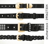 set of black buttoned to buckle ... | Shutterstock .eps vector #390627304