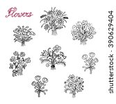 hand drawn flower bouquets  | Shutterstock .eps vector #390629404