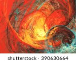 Flaming Sun. Abstract Painting...
