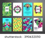 tropical printable set. vector... | Shutterstock .eps vector #390632050