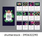 tropical printable calendar... | Shutterstock .eps vector #390632290
