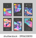 set of creative cards and... | Shutterstock .eps vector #390633850