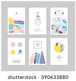 set of creative cards and... | Shutterstock .eps vector #390633880