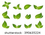 green leaf icon set. | Shutterstock .eps vector #390635224