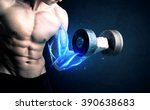 fit athlete lifting weight with ... | Shutterstock . vector #390638683