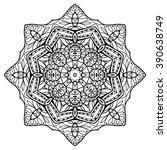 black mandala round ornament... | Shutterstock .eps vector #390638749