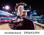 double exposure  man wearing... | Shutterstock . vector #390641494