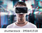 man wearing virtual reality... | Shutterstock . vector #390641518