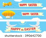 set of happy easter banners for ... | Shutterstock .eps vector #390642700