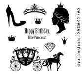 princess cinderella set... | Shutterstock .eps vector #390642763