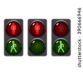 Traffic Light  Man Stands Walk...