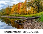 Fall colors accentuate the shoreline of a remote lake in northern Wisconsin.