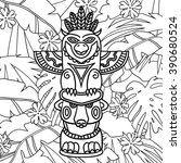 Doodle Traditional Tribal Totem Pole on plants background, coloring book. Black and white vector illustrations - stock vector