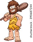 cartoon caveman smiling and... | Shutterstock .eps vector #390687244