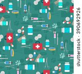 veterinary set seamless pattern.... | Shutterstock .eps vector #390692926